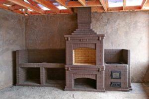 Барбекю комплекс с грилем и печью под казан